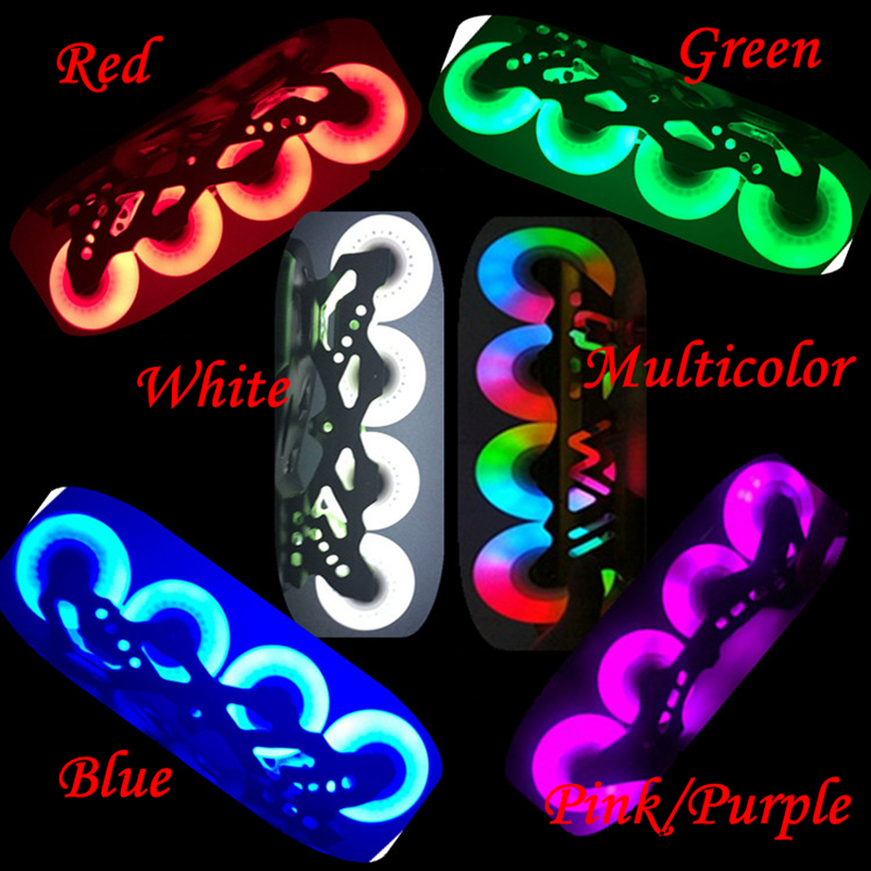 8 teile / los Skating Flash Roller Wheels LED Schiebe-Skate Wheels 90A Härte 72mm 76mm 80mm Slalom Bremsräder