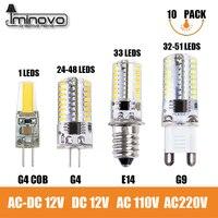 IMINOVO 10 יחידות הנורה G9 G4 הוביל אור E14 COB מנורת נברשת 3 W 6 W 9 W ניתן לעמעום AC/DC12V 220 V הלוגן חם הקרמיקה סיליקון לבן