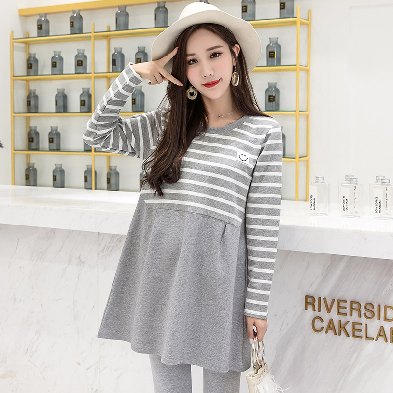 2018 Winter Autumn Fashion Maternity Dress Photography Pregnant Women Clothes Sets Stripe Long Sleeve Dress + Pants Vestido