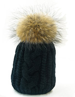 2014 Plus Size Mink Fur Pompom Hats For Women Winter Knitted Acrylic Cap Free Shipping Female