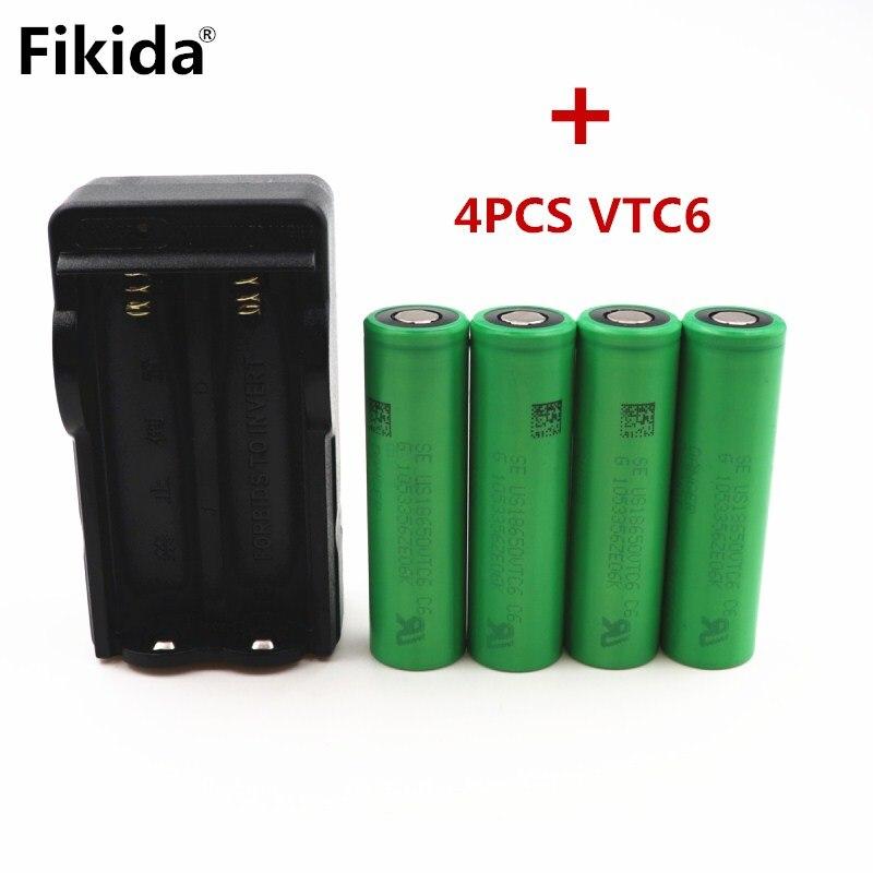 4 piezas/VTC6 3,7 V 3000 mAh batería recargable 18650 del Li-ion para Sony US18650 C6 30A cigarrillo electrónico Juguetes herramientas + 18650 cargador