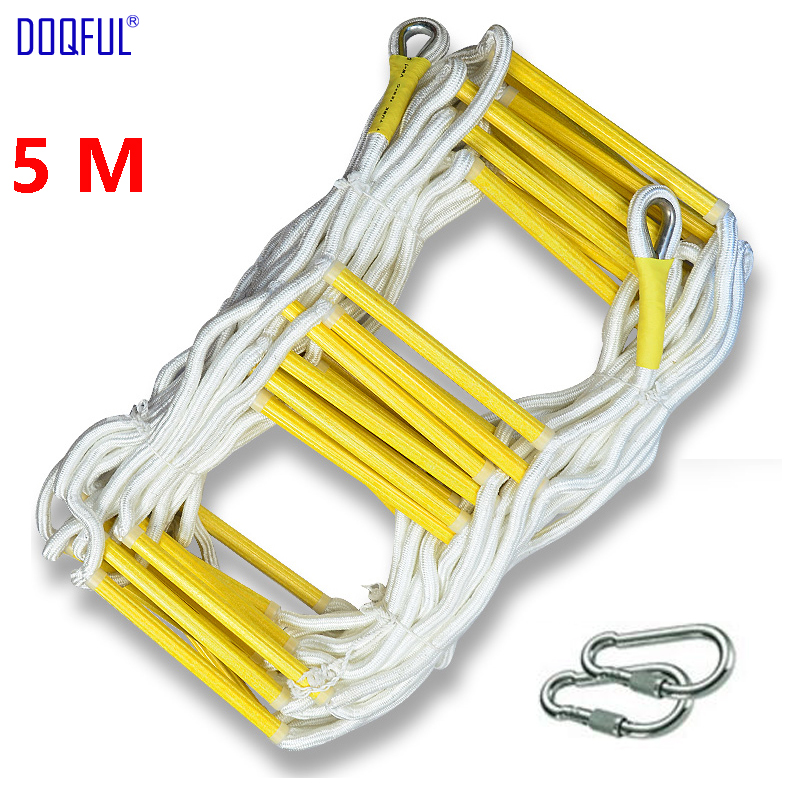 5M Rescue Rope Ladder 17FT Escape Ladder Emergency Work Safety Response Fire Rescue Rock Climbing Escape Tree Outdoor Protection5M Rescue Rope Ladder 17FT Escape Ladder Emergency Work Safety Response Fire Rescue Rock Climbing Escape Tree Outdoor Protection