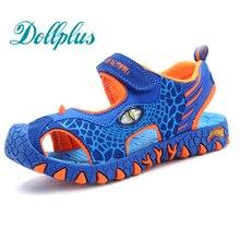2017 дети летняя обувь 3D динозавров мода мальчиков сандалии вырезать нескользящей пляжные мальчики обувь для детей мальчик
