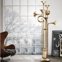 Art Creative Delightfull Horn Floor Lamp Modern Simple Dinning Room Stand Light Retro Iron Poti Trumpet Floor Lamp
