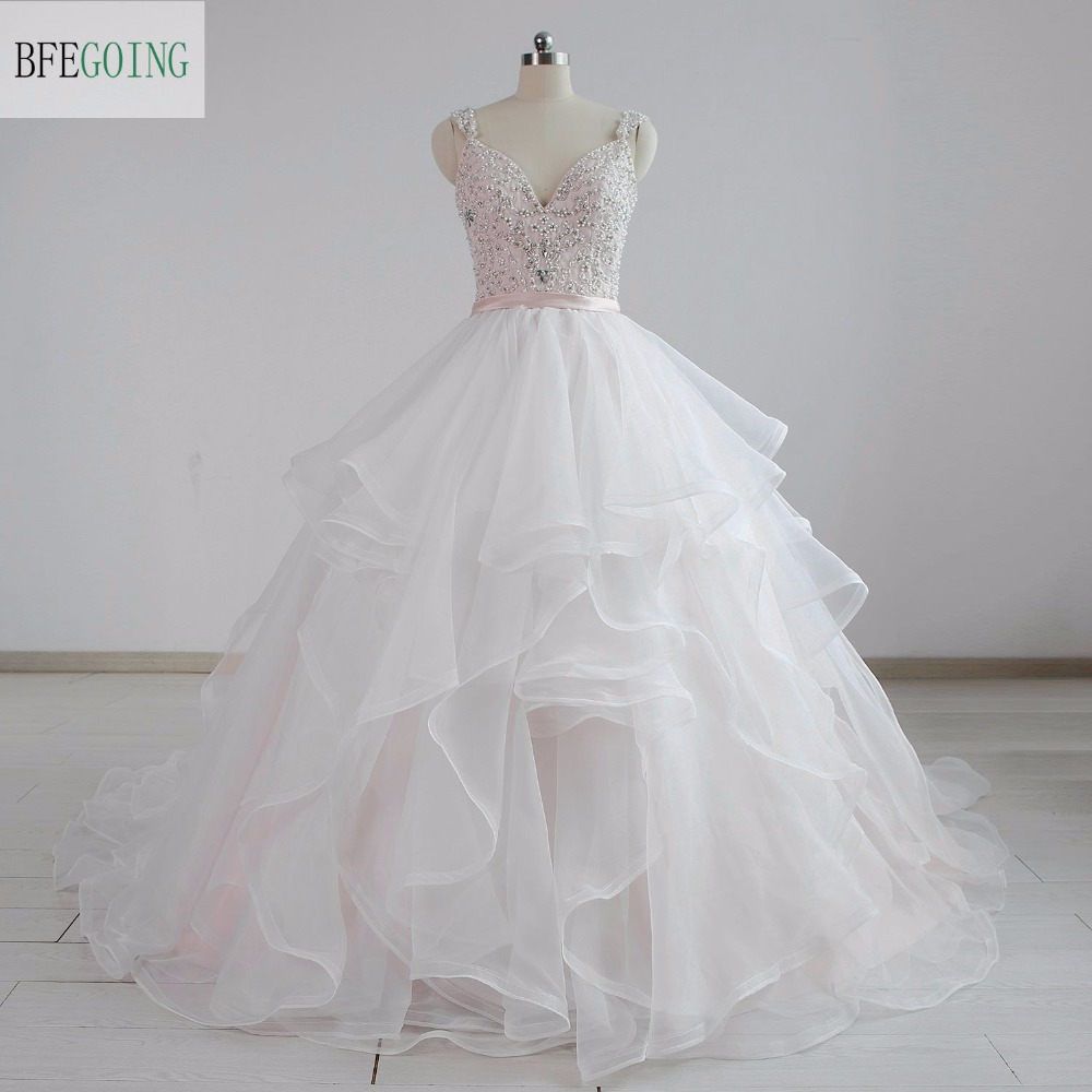 Ivory Tulle A line Wedding Dress Chapel Train V Neck Spaghetti Straps Beading Embroidery Real Original