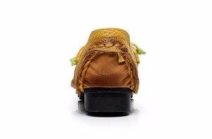 Image 4 - Mới Mùa Thu Hoa Làm Bằng Tay Giày của Phụ Nữ Floral Mềm Phẳng Đáy Giày Da Đanh Giản Dị Retro Phụ Nữ Genuine Leather Shoes