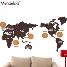 Mandelda Wall Clock Modern Large Silent World Map Clocks Home Decor Sticker Living Room Watches