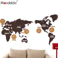 Mandelda Wall Clock Modern Large Silent Wall Clock World Map Wall Clocks Home Decor Sticker Living Room Wall Watches