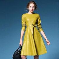 Women Unique Design PU Leather Runway Dresses 2018 Autumn Winter New Long Sleeve Big Swing Dress Yellow Black In Stock