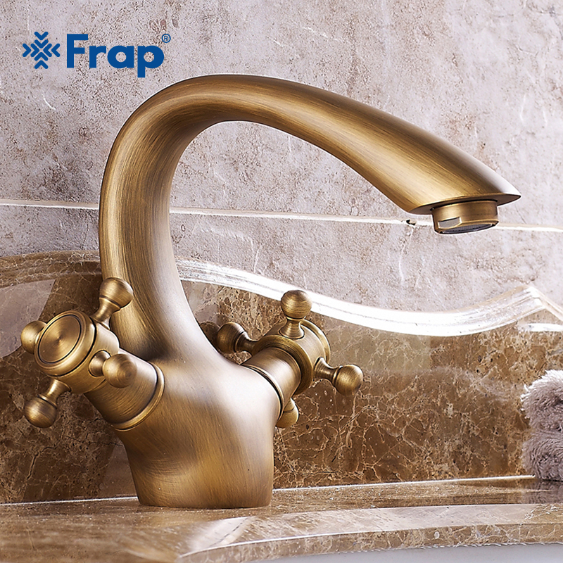 Frap Hot Sale 1 set Antique Bronze Brass Faucets Single Handle Cold and Hot Water Mixers Tap Cold and Hot Water Mixers Y10082