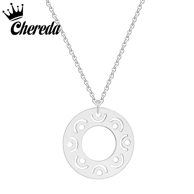 Chereda Vintage Minimal Dainty Circle Necklace For Women Stainless Steel Gold Chain Geometric Round Jewelry Party Gift