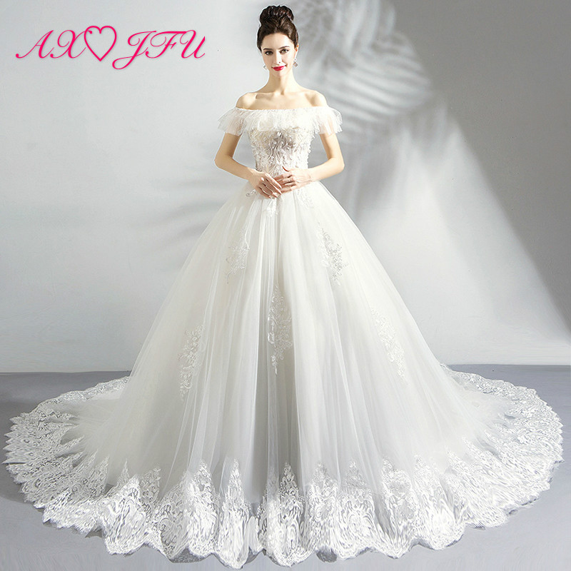 AXJFU Korean luxury crystal flower princess wedding dress vintage white lace boat neck beading pearls wedding dress 1116t