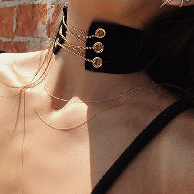 2019 New Arrival Gothic Velvet Leather Choker Necklace Sexy Wrap Tie Up Lace Up Chokers for Lady Statement Necklace Jewelry Gift