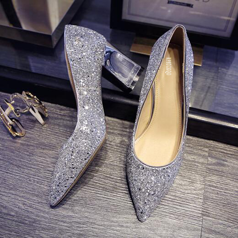 Glitter High Heels Pointed Toe Metal 5cm 2 Inch Big Size Wine Red Bridal  Shoes Pumps Sequin Gold 9 40 Women Thick Silver Autumn 91ba0fa665cf