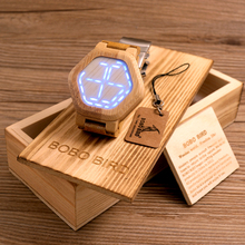 2017 BOBO de AVES Hombres Relojes de Primeras Marcas de Lujo LED Digital Del Reloj de Bambú Bambú B-E03 Banda de Pulsera relogio masculino