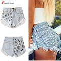 Sportlover Women's Fashion Sexy Hot Denim Shorts Vintage Tassel Rivet Ripped Loose High Waisted Short Jeans Punk Girl 3 Colors