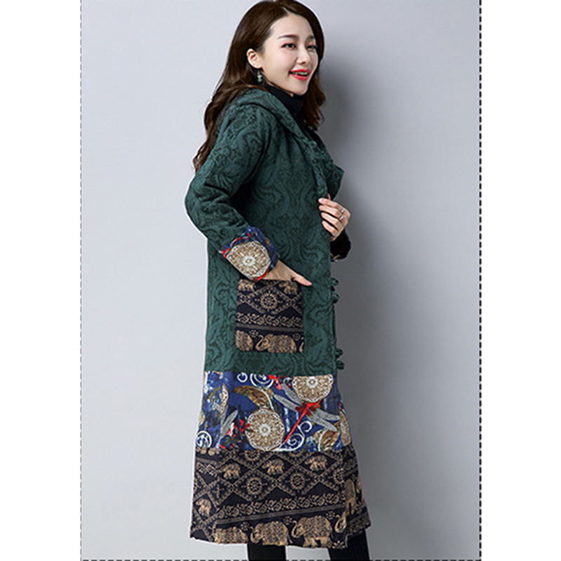 Lin Imprimé Mode Y1046 Veste Automne 2018 Parka Pardessus Épais Nouveau À Vent National Coton Chaud Vert Capuchon Manteau Femme Hiver Long wfYOq7