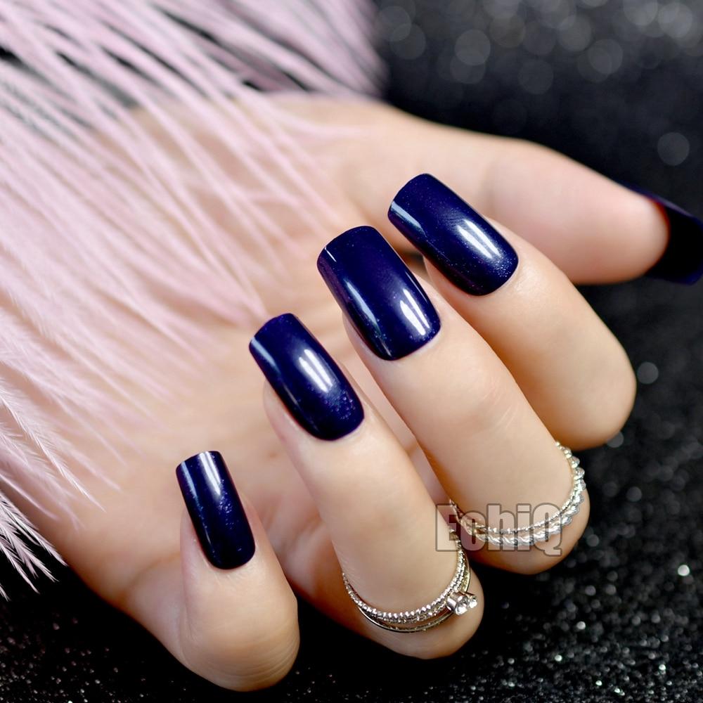 24pcs/bag Daily Wear Candy Fake Nail Dark Blue Shiny Nail Art False ...