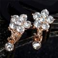 Mujeres de la manera del Pendiente de La Flor de Oro Piercing Pendientes de Oro Llena de Joyas de Cristal de Alta Calidad Al Por Mayor Envío Gratuito