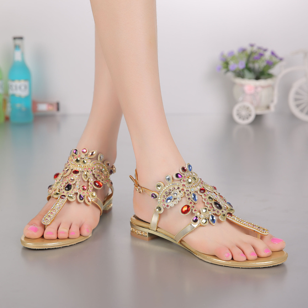 Crystals Flip Flops Sandal Flat Women Shoes Beach Womens