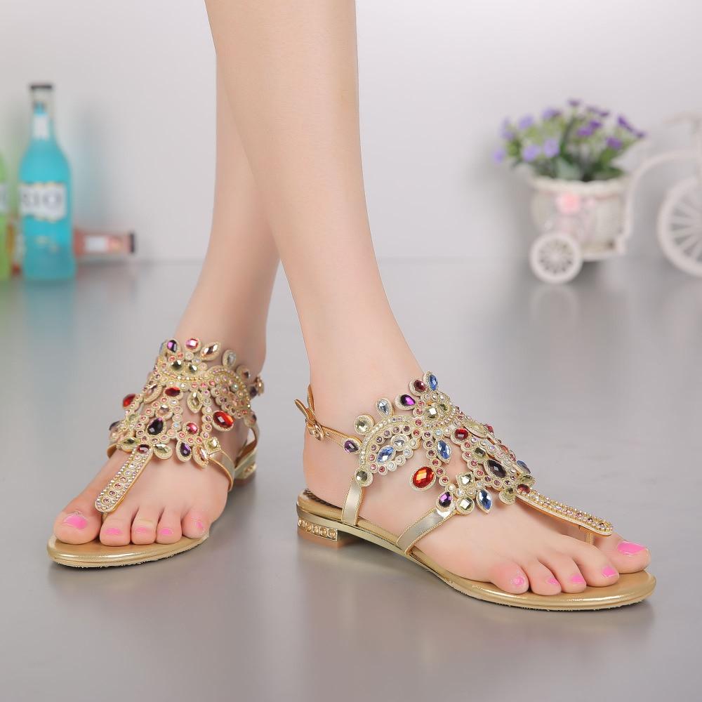 Crystals Flip Flops Sandal Flat Women Shoes Beach Womens Sandles Flat Comfortable Rhinestones Sandals