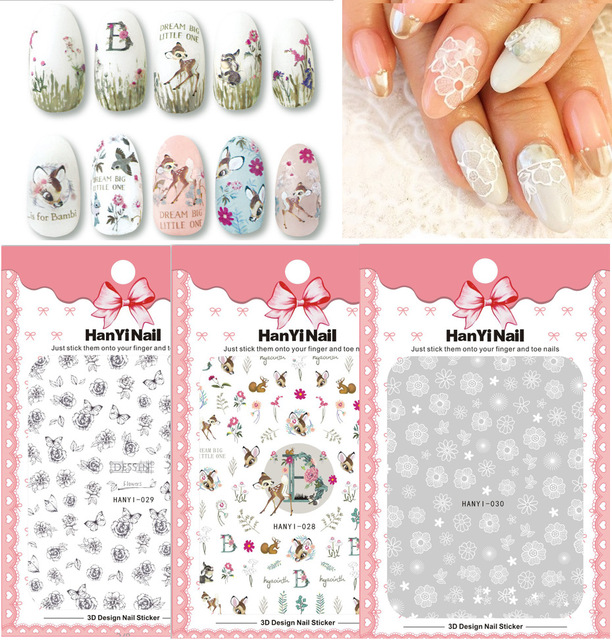 3 Sheet 3 Type Japanese Ultrathin Nail Stickers Designs Gummed 3d