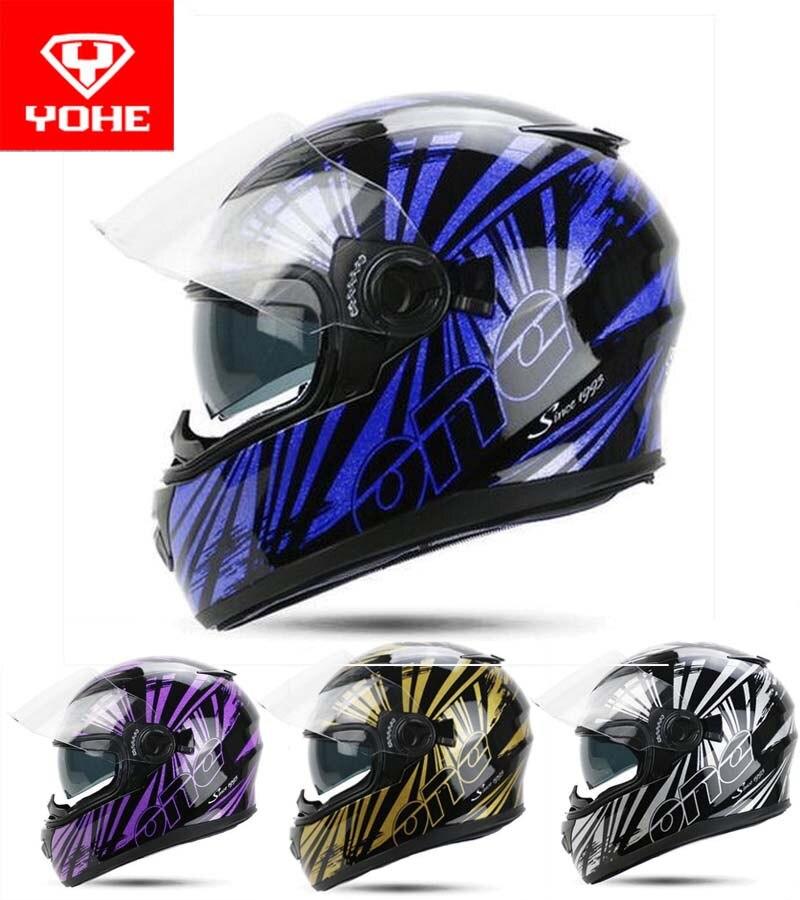 2017 Summer New YOHE Full Face Motorcycle helmet ABS YH-970 double lenses motorbike helmets PC lens Visor with Phantom color