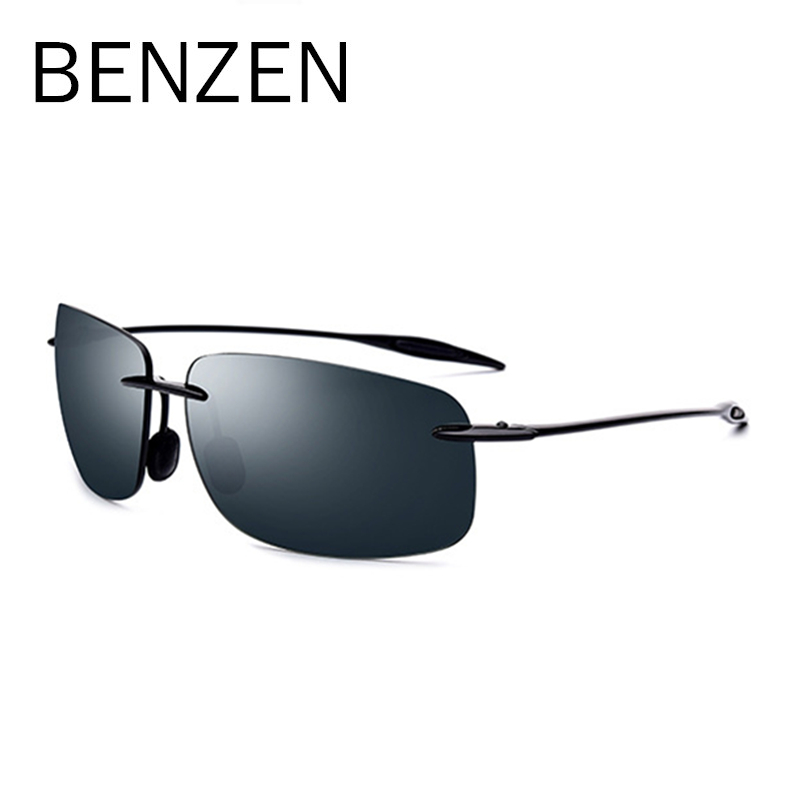 BENZEN High Quality Rimless Sunglasses Men Vintage Ultralight TR 90 Sun Glasses For Male UVA/UVB Nylon Lens Goggles Black 9357