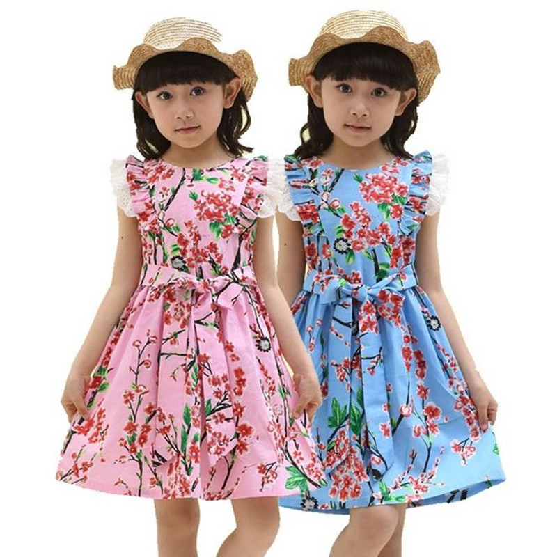 Summer Dress 2016 Dresses For Girls of 12 years Sleeveless Printed Big Size Princess Dress Teenagers Kids Clothes summer girl dress 2016 kids dresses for girls of 12 years sleeveless printed big size black dress teenagers girl dresses robe14