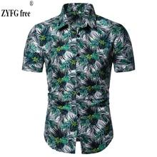 купить Fashion men shirt floral print short-sleeved shirts elegant fashion casual simple flower shirt spring summer Tops male clothing по цене 790.04 рублей