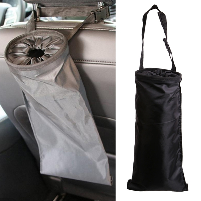 1PC Car Seats Headrest Back Litter Trash Bags Washable Hanging Garbage Can Organizer
