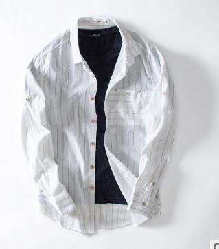 2018 осень новый продукт лацкане с длинным рукавом мужская Рубашка льняная Джокер рубашка тренд Молодежная полосатая рубашка G-77