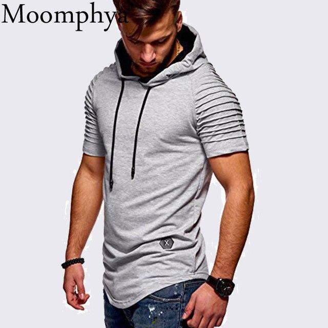 Moomphya Pleated sleeve hooded t shirt men Longline t shirts Slim t-shirt Hip hop tshirt streetwear funny t shirts summer top