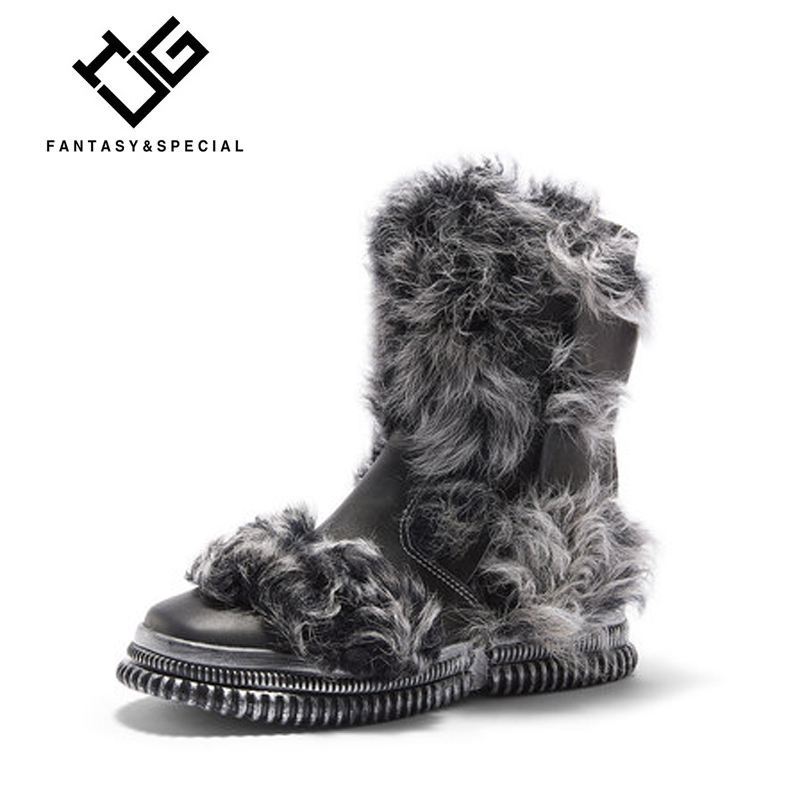 IGU Women Snow Boots Winter Genuine Real Leather Black Fur Warm Boots For Females Harajuku Punk Shoes Creeper Girls Botas Mujer