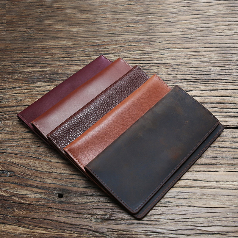 Thin Simple Money Clip for Men Crazy Horse Genuine Leather Holders for Checkbooks Vintage Leather Long Wallets Slim Billfold in Wallets from Luggage Bags