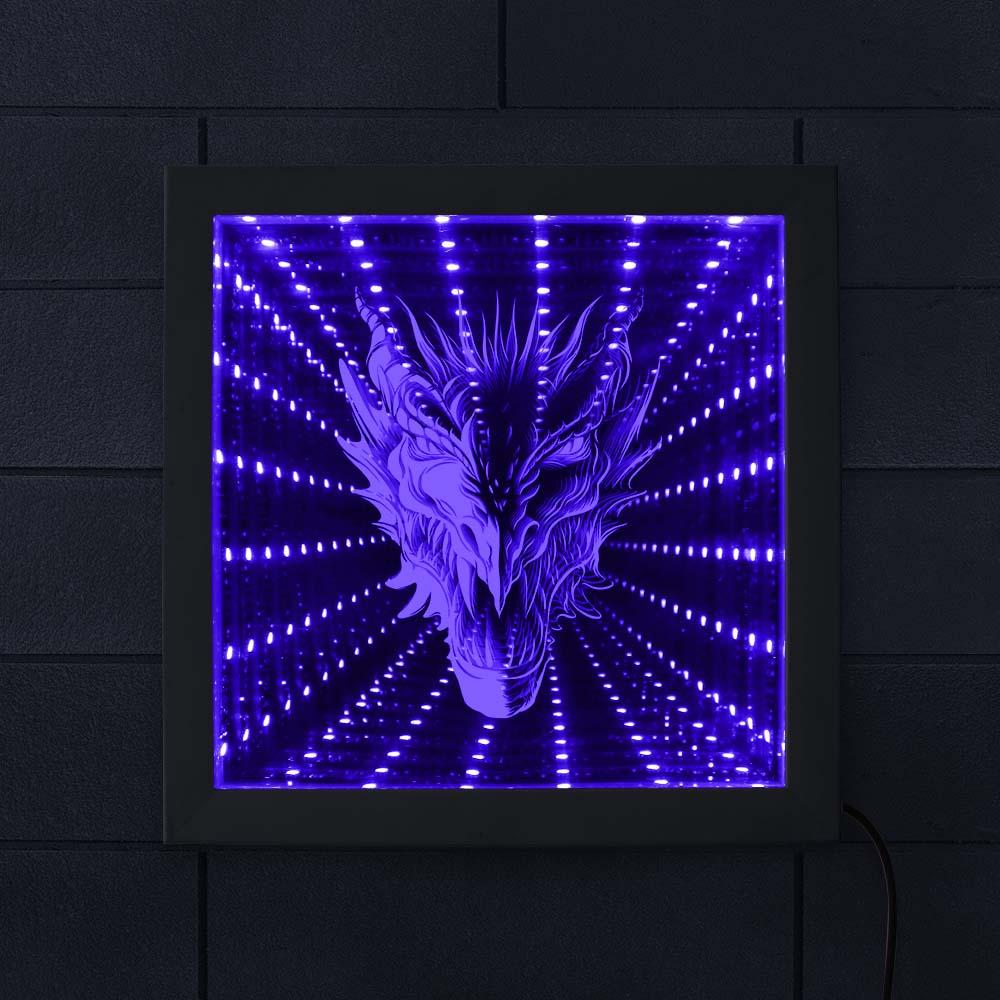 Mythique bête tête de Dragon LED infini miroir cadre gothique Dragon superbe Illusion doptique changement de couleur éclairage cadre en bois