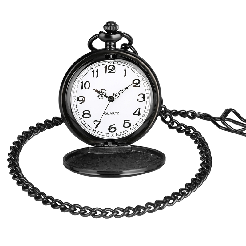 I WISH I COULD TURN BACK TIME Theme Retro Black Smooth Quartz Unique Engraved Custom LOVE Pocket Watch With 30cm Chain Gifts Box