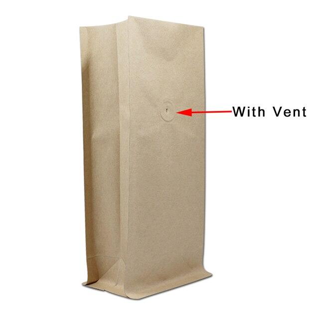 10pcs Lot Kraft Paper Stand Up Open Top Valve Packaging Bag Coffee Beans Long Term