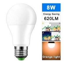 Lampka nocna LED zmierzch do świtu żarówka 8W E27 inteligentna żarówka żarówka AC85 265V automatyczne włączanie/wyłączanie lampa oświetleniowa wewnętrzna/zewnętrzna
