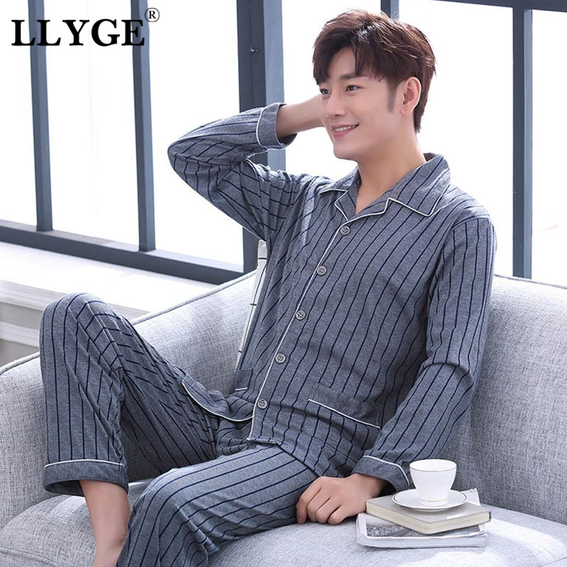 Striped Cotton Men's Long Sleeve Pyjamas Set Spring Turn Down Blue Male Nightwear Pants Pajama Sets 2019 Korean Sleepwear Suits