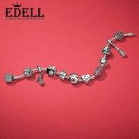 EDELL 100% стерлингового серебра 925 пробы поцелуй больше Шарм в форме сердца бисера Шампанское каблуки Красивая подвеска День Святого Валентина