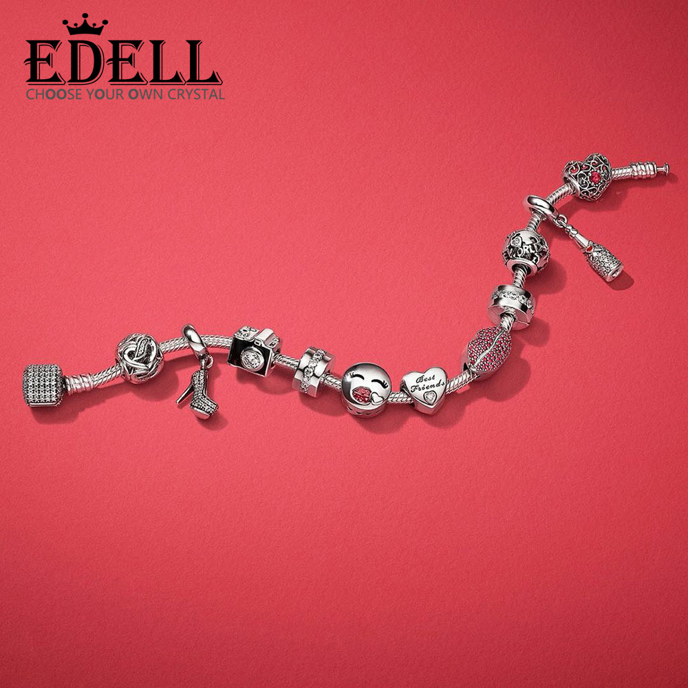 EDELL 100% 925 Sterling Silver KISS MORE CHARM Heart-shaped Bead CHAMPAGNE Heels HANGING CHARM Valentines Day Gift Bracelet SetEDELL 100% 925 Sterling Silver KISS MORE CHARM Heart-shaped Bead CHAMPAGNE Heels HANGING CHARM Valentines Day Gift Bracelet Set