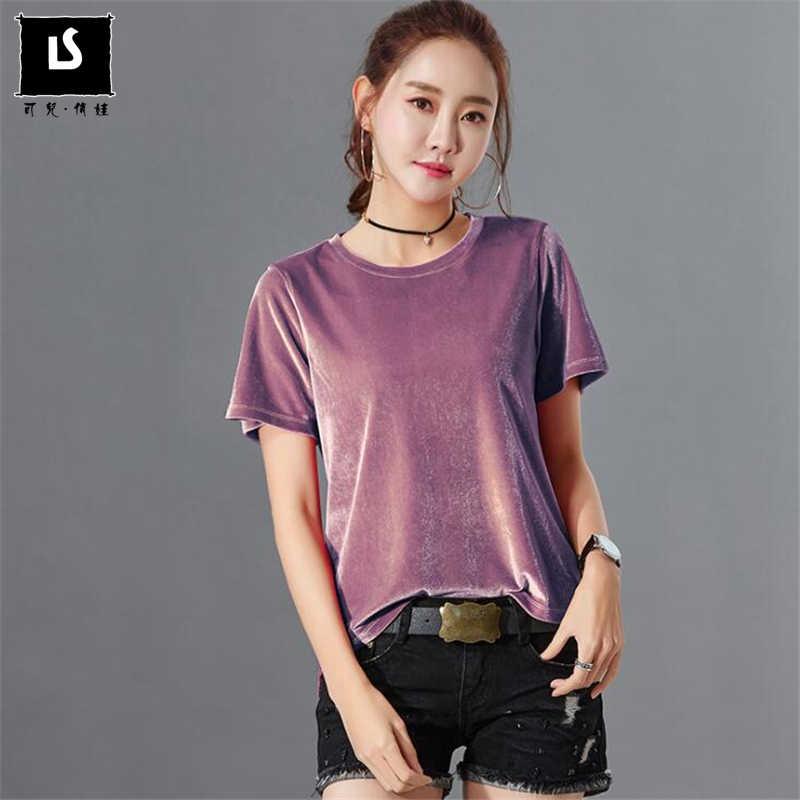 a61e42b9 European American Fashion Velvet T shirt Women Short Sleeve Solid color  velours T-shirt Summer