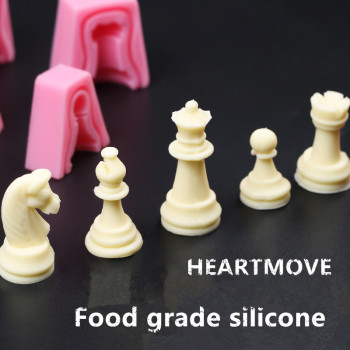 HEARTMOVE International Chess King Queen Knight Rook Pawn Bishop Double-Sided Fondant Cake Chocolate Molds Kitchen Baking Tool image