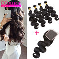 Brazilian Virgin Hair Body Wave With Closure Virgin Hair 4 Bundle Deals Closure Wet And Wavy Virgin Brazilian Hair With Closure