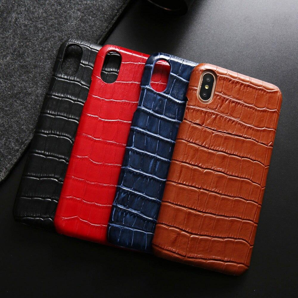 Luxuoso Estojo De Couro Genuíno para O Iphone Xs Max Xr X 10 8 7 6 6 s Além de Jacaré Disco Telefone tampa traseira para Samsung Nota 9 8 S9 Plus