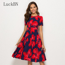 Summer Women Vintage Print Dress Elegant Party O-neck A Line Midi Dress Fashion Short Sleeve Floral Dresses Female Vestidos Red brand autumn vintage print dress women elegant party o neck a line floral dress fashion long sleeve maxi dresses female vestidos