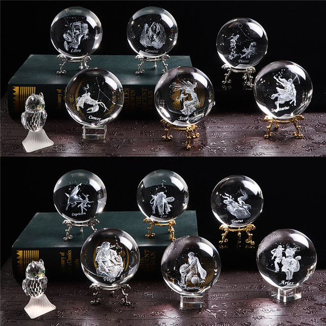 80 MM Laser Engraved Zodiac Sign Crystal Ball Miniature 3D Crystal Craft  Glass Ornament Sphere Home Decoration Accessories Gift 1