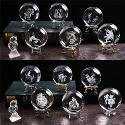 80mm laser gravado zodíaco sinal bola de cristal em miniatura 3d artesanato vidro ornamento esfera decoração para casa acessórios presente