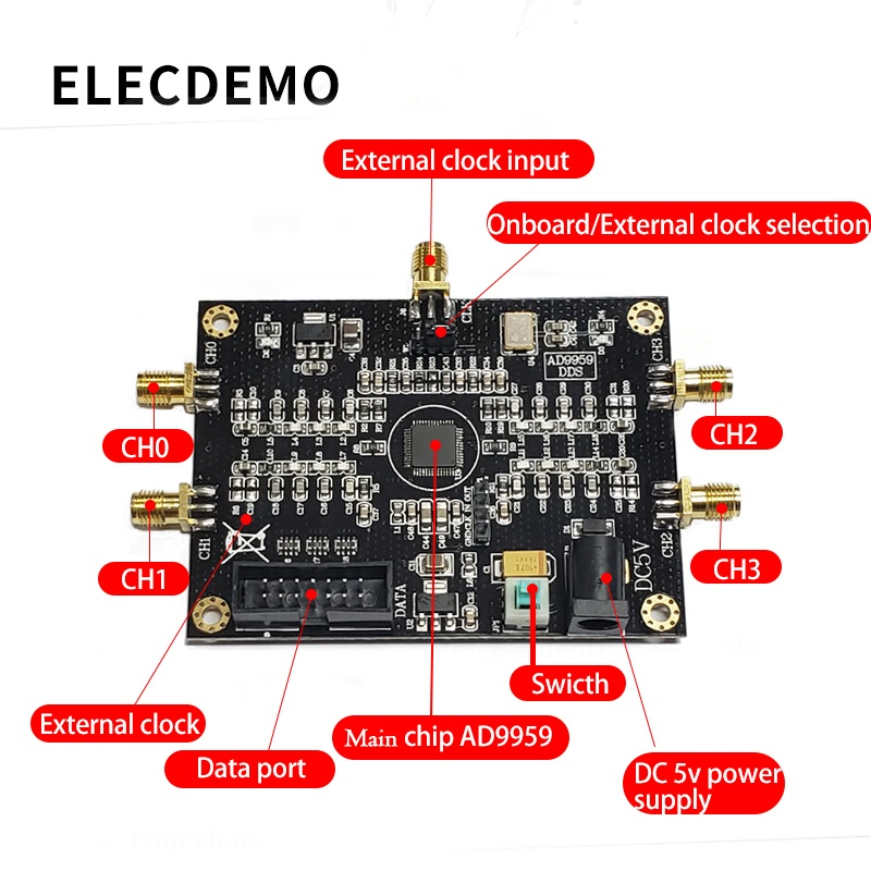 Image 2 - AD9959 Module RF signal source AD9959 signal generator Four channel DDS module Performance far exceeds AD9854-in Demo Board Accessories from Computer & Office